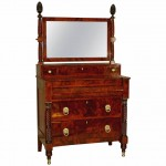 "Rare Neoclassical New York ""French"" Bureau with Dressing Mirror, circa 1820"