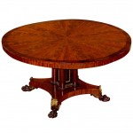 English Regency Inlaid Mahogany Tilt Top Breakfast or Dining Table circa 1835