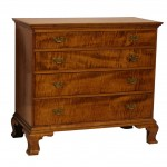Bold American Tiger Maple 18th Century Four Drawer Chest