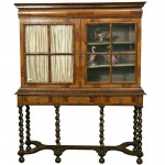 Walnut William & Mary Style Seaweed Marquetry Inlaid Bookcase