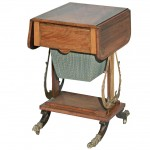 English Regency Rosewood and Brass Game/Sewing Table