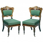 Pair of Historicaly Important American Rosewood Classical Side Chairs