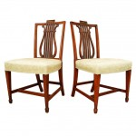 Pair of English Lyre Back Mahogany Side Chairs