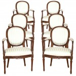 Set of Six Louis XVI European Arm Chairs