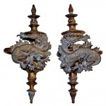 Large Pair of French Bronze Dragon Motif Curtain Tie Backs by Dromard