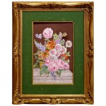 French Floral Still Life Painting on Porcelain