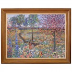 Oil Painting of Flowers in a Landscape by John Powell