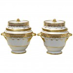 Pair of English Porcelain 19th Century Fruit Coolers or Ice Cream Pails