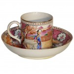 Chinese Export Mandarin Subject Cup and Saucer
