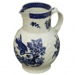 Worcester Blue and White Parrot and Fruit Decorated Jug