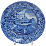 Small Blue and White Transfer Ware Plate of City Hall, New York