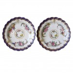 Pair of 1st Period Worcester Floral Decorated Plates