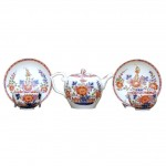 Meissen Tea Pot With Matching Cups and Saucers