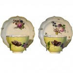 Assembled Pair of 18th Century Meissen Cups & Saucers