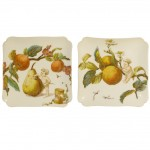 Pair of French Porcelain Fruit Motif Square Dishes