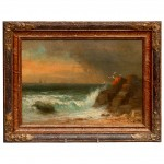 Benjamin Champney, Painting of a Sunset Stormy Seascape