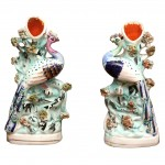 Pair of Staffordshire Small Bird Form Vases
