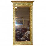 French Classical Gilded and Painted Pier Mirror Ca. 1820