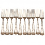 Set of 10 Tiffany Wave Edge Dinner Forks