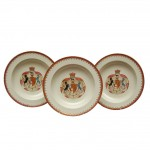 Set of Six 18th Century Wedgwood Armorial Cream-ware Soup Bowls