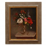 American Still Life Oil Painting of Flowers in a Vase by G. A. Behne