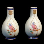 Pair of Chinese Bottle Vases with Parrot on a Swing, Ca. 1880
