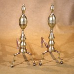 American Federal Period Double Lemon Top Brass Andirons, Ca. 1810