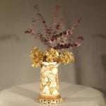European  Porcelain Japanese Style Ivory Tusk Form Vase, Ca. 1890