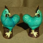 Pair of Chinese Export Porcelain Roosters, Ca. 1900