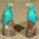 Pair of Chinese Export Porcelain Small Parrots, Ca. 1880