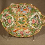Chinese Rose Medallion Leaf Shaped Dish, Ca. 1860