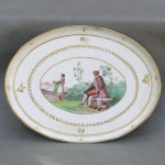 European Porcelain Scenic Oval Tray, Ca. 1790