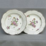 Worcester Attributed Floral Painted Porcelain Plates, Ca. 1770