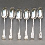 Set of 6 George III Bright Cut Sterling Teaspoons