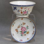 Chinese Porcelain Bowl and Saucer, Ca.  1750