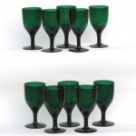 10 Antique Blown Green Crystal  Goblets, Ca. 1840