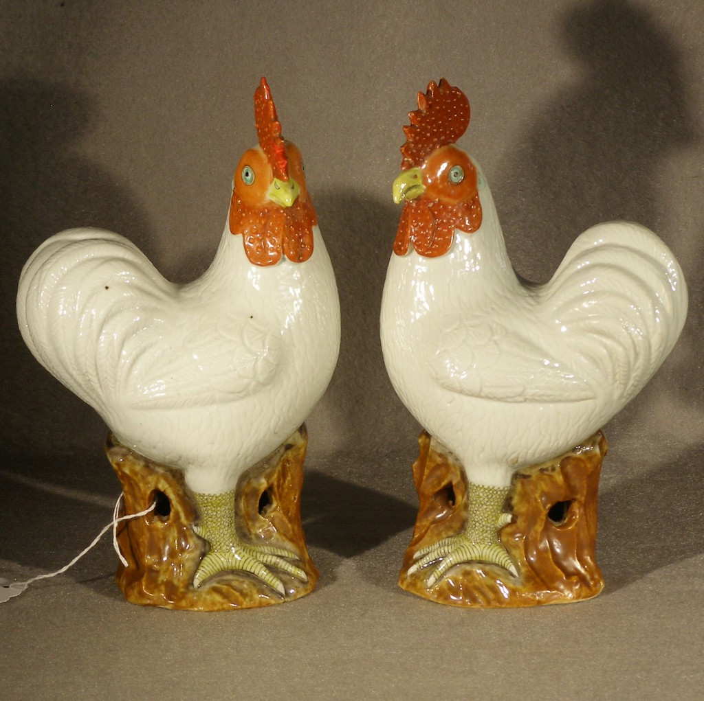 Antique Pair Of Chinese Porcelain Roosters Ca 1780