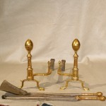 Antique American Bell Metal Andiron Set, Ca. 1800