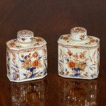Rare Antique Pair of Chinese Export Porcelain Tea Caddies, Ca. 1720