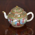 Antique Chinese Export Rose Canton Porcelain Tea Pot, Ca. 1860