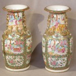 Large Pair of Antique Chinese Export Rose Canton Vases, Ca. 1850