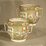 Rare Pair of Chinese Export Rose Medallion Cache Pots, Ca. 1850