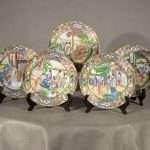 5 Chinese Export Mandarin Porcelain Plates, Ca. 1840