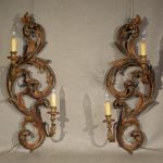 Rococo Style Wall Sconces, Carved  and Silver Gilt Pair