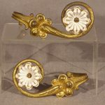 Pair Curtain Tiebacks, Gilt Bronze and Porcelain