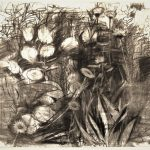 "Gabriel Edward Adams, ""Garden with Hydrangia"", Charcoal Drawing"