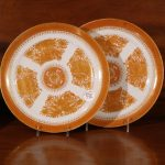 Chinese Export Porcelain Orange Fitzhugh Plates