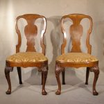 Pair Of Georgian Walnut Side Chairs Ca. 1740