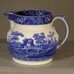 Large Staffordshire Blue And White Pitcher  Ca. 1900