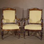 Pair of William IV Rosewood Arm Chairs, Ca. 1840